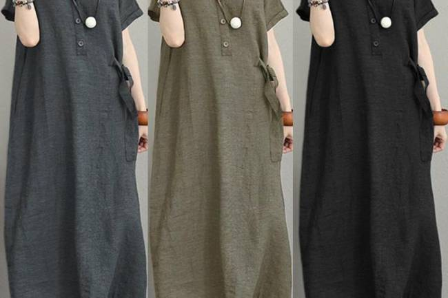 ZANZEA Women Buttons Neck Long Shirt Dress Lapel Short Sleeve Midi Dress Kaftan Dress